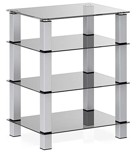 FITUEYES AV Component Media Stand Audio Rack 4-Tier Entertainment Shelves TV Stand for Entertainment Center Stereo Cabinet - Luxury Gray