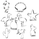 Cookie Cutter Set-9 Piece-Mermaid,Starfish,Seashell,Seahorse,Cactus,Pineapple,Flamingo,Palm Tree,Stainless Steel Cookies Molds for Summer Tropical Beach Party Supplies Decoration Handmade Cookie (1)