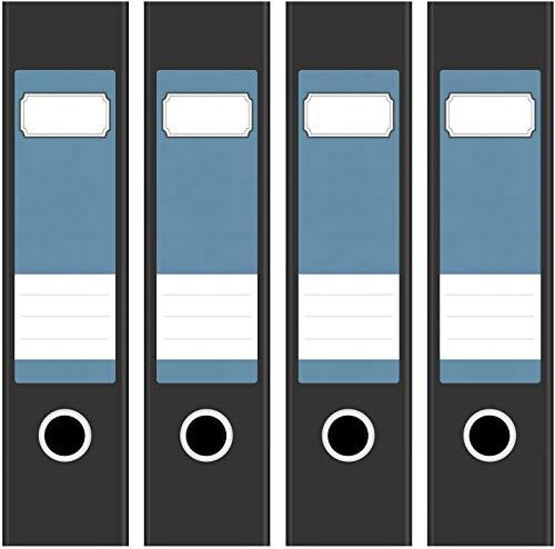 4 farbige Akten-Ordner Etiketten/Aufkleber/Rücken Sticker/Farbe Modernes Blau-Grau/für breite Ordner/selbstklebend / 6cm breit