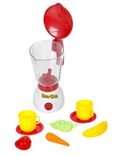 Juego de batidora de juguete para niños con tapa abatible y escala de cantidad de hasta 350 ml, funciona con pilas, 2 tazas con platillos, zanahoria, plátano, uvas y fresa.
