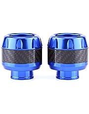 Qiilu 1 par de Protectores contra deslizamientos del marco de la horquilla delantera de la motocicleta de fibra de carbono(azul)