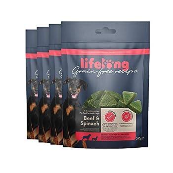 Marque Amazon - Lifelong - Friandises pour chiens, sans blé, avec mono-protéine, avec mono-protéine avec bœuf et épinard (4 pack x 240gr)