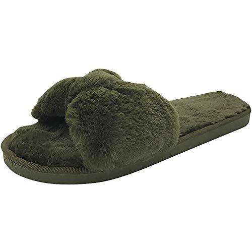 SJNX-Running Shoes Diapositivas de Piel Zapatillas de Punta Abierta para Mujer Zapatillas de Algodón para Interiores Zapatos de Casa Perezosos Antideslizantes de Fondo Suave