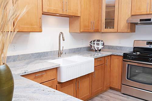 Koozzo 33-Inch Farmhouse Apron Front Fireclay Kitchen Sink, Rectangular Double Bowl, Glazing White Sink/Basin, MJ-3318