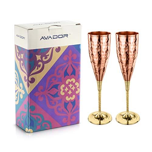 AVADOR Set of 2 Shatterproof 100% Handcrafted Copper Champagne Flutes Hammered Finish 16 Oz. Gift Set