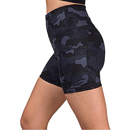 KUDICO Damen Shorts Hohe Taille Tarnen Kurze Leggings Yogahose Sporthose Fitness Hotpants Laufhose mit Handytasche(Marine,S)
