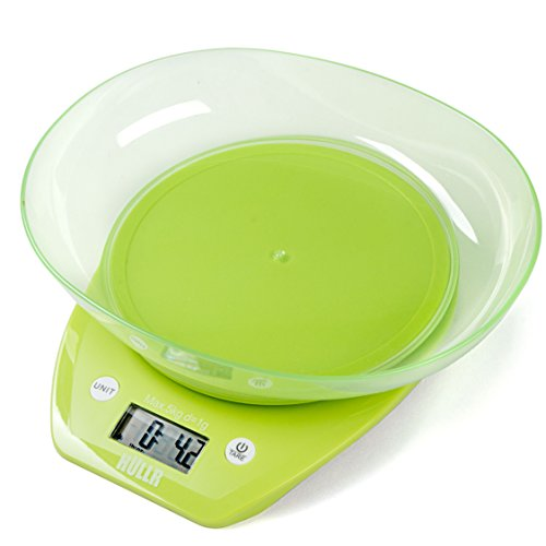 HULLR Multifunction Digital Kitchen Food Scale with Bowl 11Lb 5Kg (Batteries Included) (Green)