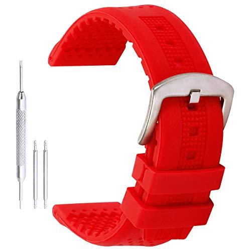 20mm elegantes pulseras de reloj de la correa de caucho de silicona en rojo con pasador de acero inoxidable de la hebilla de extremo recto