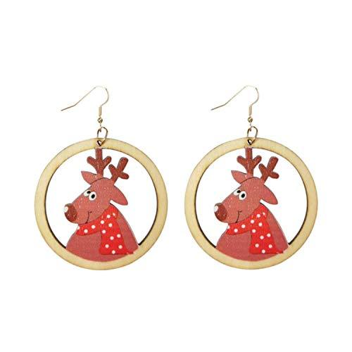 3 pairs 2021 Natural Wood Christmas Earrings for Women Cutout Snowman Deer Santa Claus Earrings Jewelry Wholesale