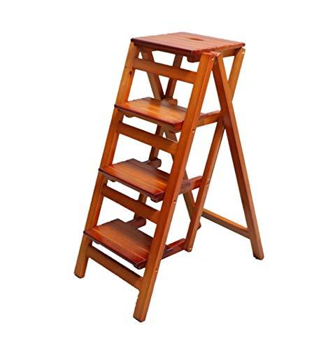 PasosZHFZD inklapbare ladder van massief hout, inklapbaar, boekenkast, multifunctionele ladder van hout, zwart Size Vistoso