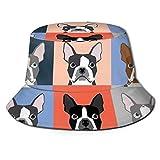 Sombrero de Cubo Sombrero de Cubo Unisex Gorra de Pescador de ala Ancha Sombrero de Sol de Verano Packable Sombrero de Sol Boston Terriers Azulejo Bulldog Conjunto de Perro Patrón