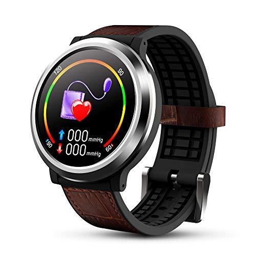 OKNAE Smartwatch mit Herzfrequenz, Schlaf, Sport, IP67, wasserdicht, Fitness-Smartwatch, kompatibel mit Android und iOS, für die meisten Arten von Smartphones, Lederband, schwarz und braun