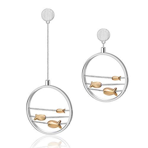 Lotus Fun S925 Sterling Silber Ohrringe Lieblich Schwimmen Glücklicher Fisch Tropfen Ohrringe für Frauen Mädchen, Natürlicher Kreativ Beliebt Handgemachter Einzigartiger