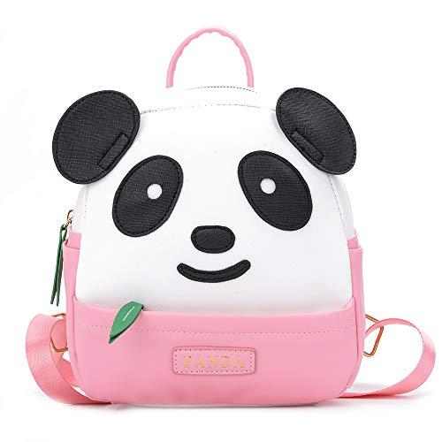 YUHUAWYH Zaino per Panda bambini Moda Cartoon Zaino Mini Borsa da Studente Ragazza Pelle Sintetica Elegante Casuale Zaino da Viaggio per ragazze da 1 a 6 anni (Rosa-S)