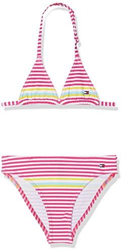 Tommy Hilfiger Mädchen Triangle Bikini Set Badebekleidungsset, Rot (Core Placed Stripe Pink Glo 913), 152 (Herstellergröße: 12-13)