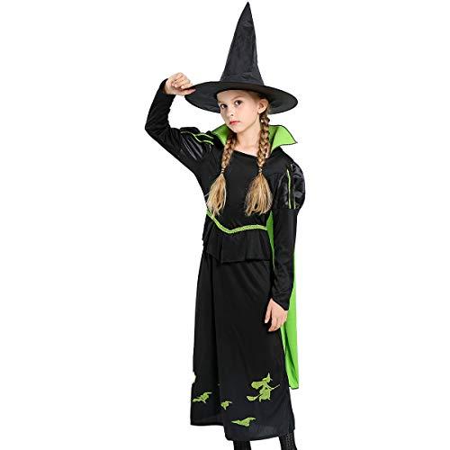 Halloween Cosplay Party Kleid Abendkleid Prinzessin Kleid mädchen 1 Set Kinder Kleid + Hut Mädchen Hexe Kostüm Zubehör Fairy Vampir Kostüm Verkleidung Dracula Fasching Karneval Party