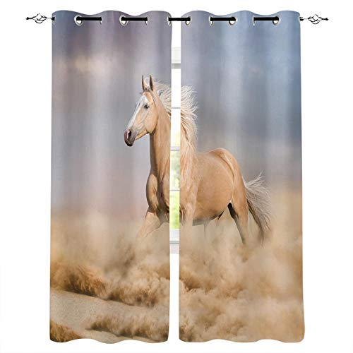 MXYHDZ Blackout Curtains for Bedroom - Yellow Animal Horse Desert - 3D Print Pattern Eyelet Thermal Insulated - 79 x 63 Inch Drop - 90% Blackout Curtains for Kids Boys Girls Playroom