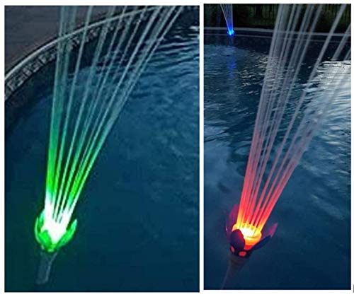 "MAGIC POOL FOUNTAIN - Dual Pack Includes 2 Complete Fountains. Water Powered, Installs in Seconds by Hand in Standard 1.5"" Pool Jet, No Tools Required, Bright LED Lights."