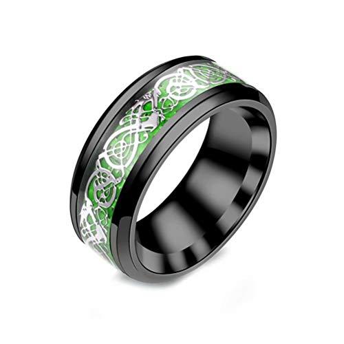 WOGOU Mens 8mm Red/Green/Purple Carbon Fiber Black/Silver Celtic Dragon Titanium Steel Ring Wedding Band, Size 6-13