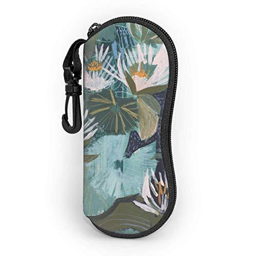 AEMAPE Estuche para anteojos Lotus pintado a mano para mujeres y hombres Estuche blando para gafas de sol portátiles con mosquetón