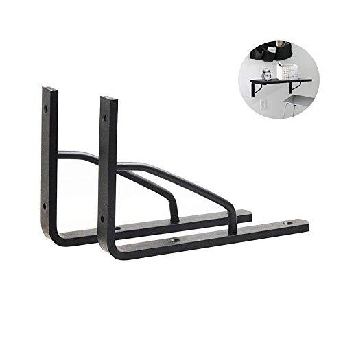 Yuany plankhouders 2 x zwarte plankhouders industriële aluminiumlegering drijvend 175x135mm planken statiefdriehoek voor tafelwerkbank / met schroeven