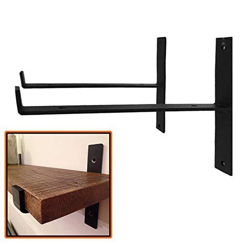 HAOT Shelf Brackets Rustic Shelf Support Brackets Angle Braces Shelving Brackets Scaffold Board Wall Mounted Industrial Iron 200/300mm Pack of 2 (T Lip)