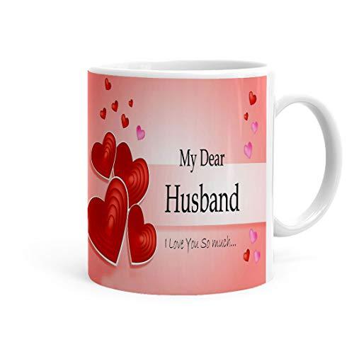 Khakee My Dear Husband I Love You So Much Theme Printed Coffee Mug(325 Ml) (P20hubby-096) - Birthday,Anniversery,Valentine Gift...