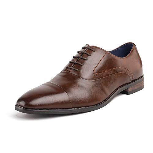 Bruno Marc Hutchingson_1 Zapatos de Cap Toe Oxford Vestir Clásico para Hombre Marrón 41.5 EU/8.5 US