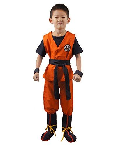 miccostumes Boy's Saiyan Cosplay Costume Medium Orange and Dark Blue
