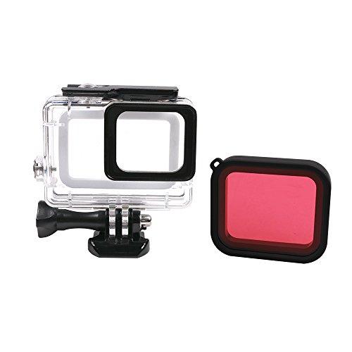 SUREWO 45m Waterproof Housing Protective Case Transparent Shell Red Filter GoPro Hero 6/5 Black (Case, Transparent)