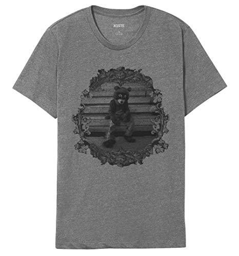 Xqste College Dropout Bear Hip Hop Rap Unisex T-Shirt (Medium, Gray)