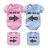 culbutomind Baby Twins Bodysuits Sie Er hat es getan Baby Kleidung Neugeborenes Mädchen Kleidung Zwillinge 2 Sätze Baby Geschenk(BLPI 6M)