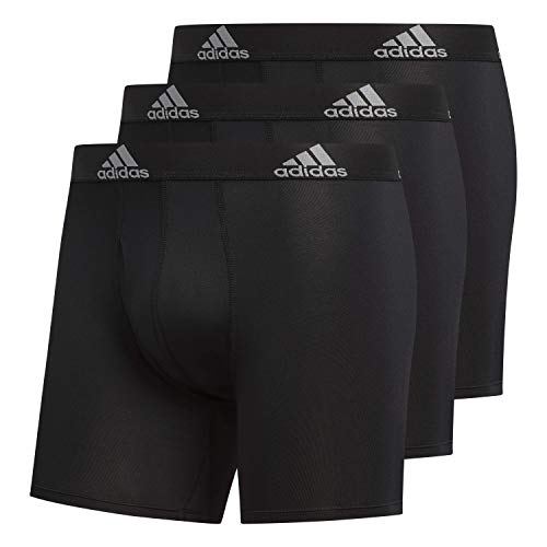 adidas Men's Performance Boxer Briefs Underwear (3-Pack), Black/Black Black/Black Black/Black, LARGE