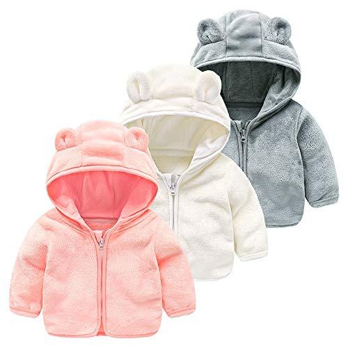 H.eternal Winter Warm Coat Jacket Baby Boys Girls Hoodie Sweatshirt Long Sleeve Adorable Coral Fleece Ears Hat Clothes (6-12 Months, Gray)