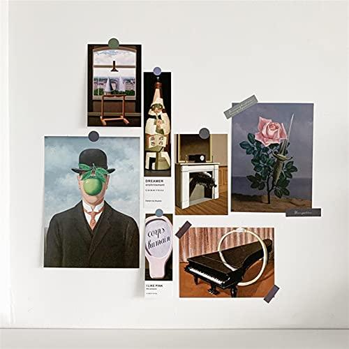 N\C 7 Fogli di Fogli nordici Carte Decorative Decorazione della Parete Camera da Letto Foto Cornice Pittura Wall Adesivi Carte Decorative (Color : Magritte)