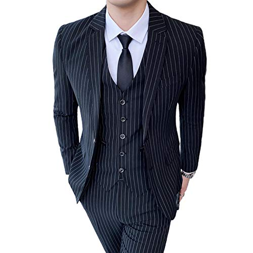 Outwear Men's Striped Suit 2021 British Slim Fashion Wedding Banquet Dress Business Casual Suit Set grande 5XL negro L