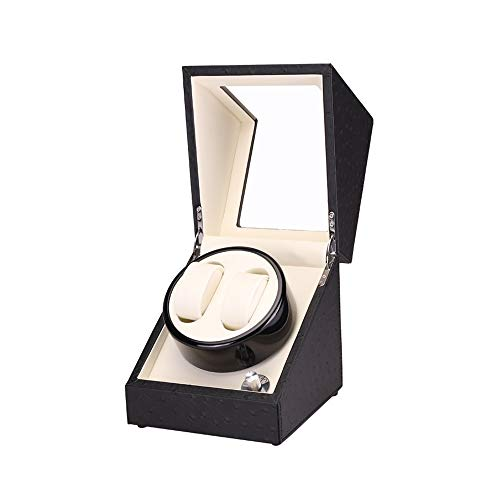 ZNND Watch Caja Enrollador Doble Reloj, 4 Configuración Modo Rotación, Cuero PU, Almohada Felpa Flexible, Motor Extremadamente Silencioso, Negro (Color : White, Size : A)