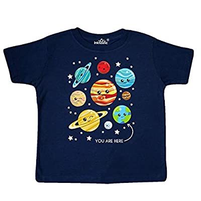 inktastic Cute Planets, Stars, Astronomy, Toddler T-Shirt 4T Navy Blue 35a53