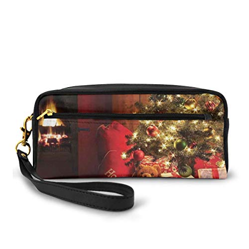 Pencil Case Pen Bag Pouch Stationary,Xmas Scene Celebrations with Tree and Gifts by The Fireplace Artful Design Image,Small Makeup Bag Coin Purse