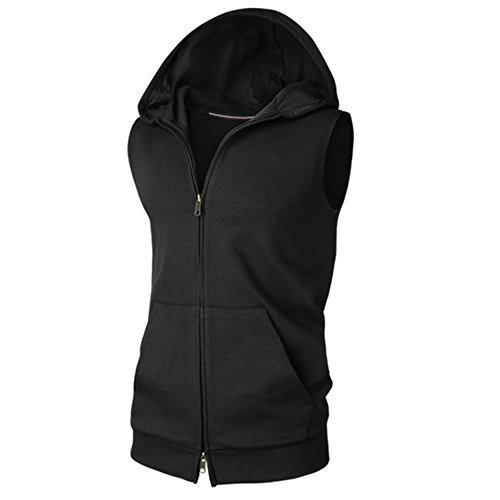 V-rules Mens Sleeveless Hoodie Athletic Zip-up Vest Lightweight Tank-Top with Pocket (US-XXL, Black)