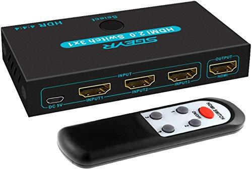 HDMI 2.0 Switch SGEYR 3 Port 4K 60Hz HDMI Switcher 3 In 1 Out HDMI Umschalter mit IR Fernbedienung Unterstützung 4K HDCP2.2 HDR 3D 1080P für PS4 Pro Xbox HDTV Blu-Ray Player