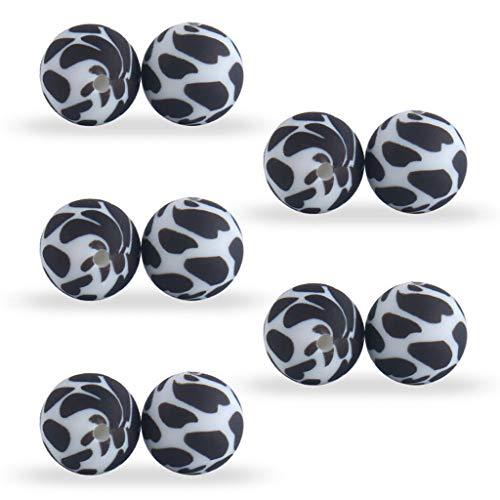 JIUYECAO Cuentas de silicona con estampado de leopardo, 15 mm, color negro, 10 unidades/paquete de 15 mm con estampado de leopardo, accesorios colgantes