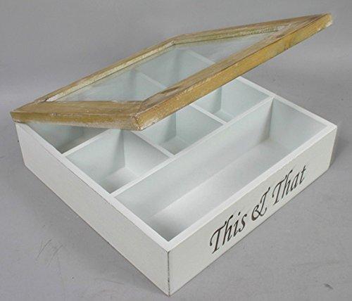 elbmoebel Box This & That scatola espositore portagioie in vetro scatola di legno in legno bianco anticato