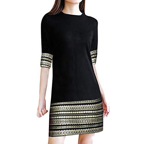 Xmiral Kleid Damen Retro Elegant Streifen Halber Ärmel Rundhals Minikleid Slim Fit A-Linie Lange Shirt(Schwarz,L)