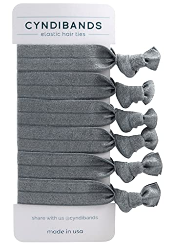 Cyndibands Match Your Hair Color Knotted Ribbon Elastic Hair Ties - 6 Count (Dark Gray)