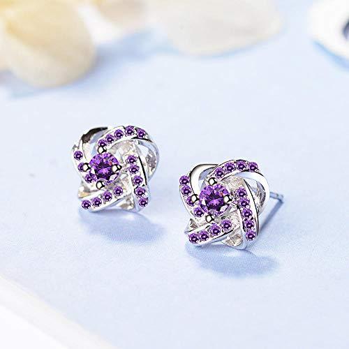 Earrings Women Studs 925 Sterling Silver Fashion Crystal Earrings Simple Ear Hoops Jewelry Women Birthday Present-Purple