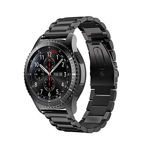 NEAWO Edelstahl-Uhrenarmband Edelstahlarmband für Uhr,20/22mm Metall Uhrenarmbänder mit Schnellverschluss geeignet für Damen&Herren (22mm, Edelstahl Schwarz)