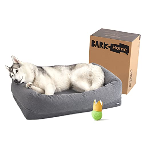 Barkbox 2-in-1 Memory Foam Dog Bolster Bed   High Density 3'' Base Orthopedic Joint Relief Crate Lounger or Donut Pillow Bed, Machine Washable + Removable Cover   Waterproof Lining   Large, Grey
