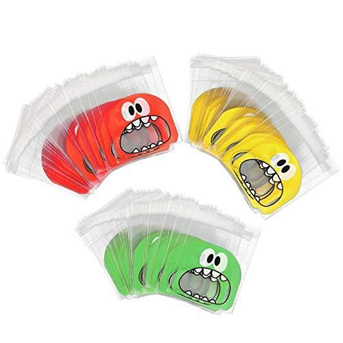 300pcs Sacs Plastique, sachets transparents alimentaires avec bande adhésive pour paquets de bonbons/Biscuit Bijoux, (big mouth)