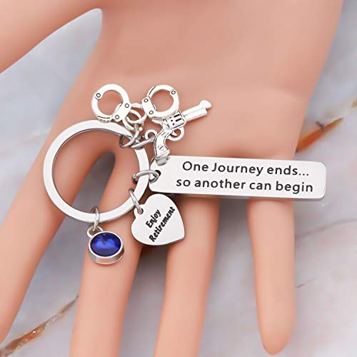 Product Image 4: HOLLP Police Retirement Gifts Police Officer Retired Keychain One Journey End.So Another Can Begin Keychain Police Jewelry Gift for Police Officer (Keychain)